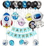 36 Piezas Decoraciones Cumpleañosde Niño, Azul Decoraciones para Espacio Fiestas de Cumpleaños, Globo de Cohete Astronauta Robot Happy Birthday, Decoración de Feliz Cumpleaños con Accesorios