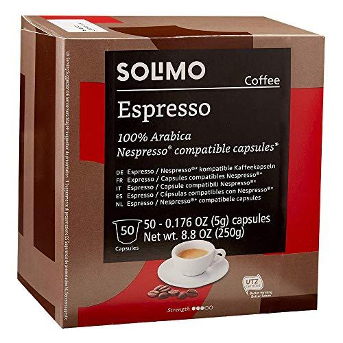 Amazon Brand - Solimo Espresso Capsules 50 CT, Compatible with Nespresso Original Brewers