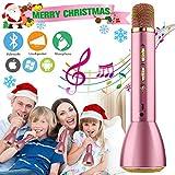 Microfono karaoke Wireless, Microfono bluetooth per Bambini, Portatile Karaoke Bluetooth Microfono Wireless Senza fili con Altoparlante per Cantare Ragazzi Ragazze Child Phone Andriod iOS PC (Rosa)