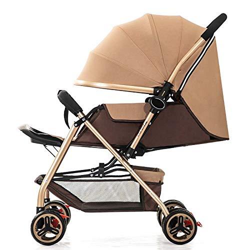 Bueuwe Cochecito Ligero con Mango Reversible, Aluminio Plegable Convenience Travel Baby Baby Toddler con Dosel Oxford/arnés de 5 Puntos/Canasta de Almacenamiento,Caqui