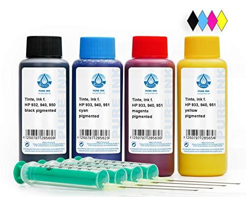 Octopus Pure Ink 4X 100 ml CMYK Druckertinte Nachfülltinte kompatibel für Patrone HP 932, 933, 940, 950, 951 Refill Set mit Zubehör und Nachfüllanleitung