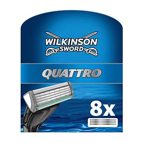 Wilkinson Sword Quattro Plus - Cargador de 8 Unidades de Recambio de Cuchillas de Afeitar para Hombre de 4 Hojas, Afeitado...
