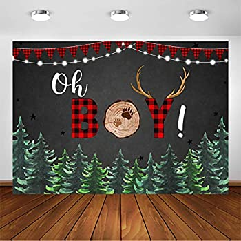Avezano Lumberjack Baby Shower Backdrop for Boy Buffalo Plaid Rustic Woodland Baby Shower Party Decorations Photography Background Oh Boy Lumberjack Parties Photo Booth Backdrops  7x5ft