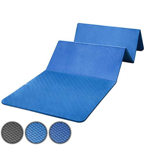 POWRX Materassino Fitness 180 cm x 60 cm x 1,5 cm - Materassino Pieghevole e PVC Free (Blu)