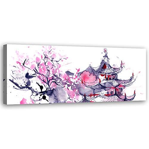F FEEBY WALL DECOR Cuadro de Pared XXL Japón Impresión Lienzo Acuarela Morado 150x50 cm