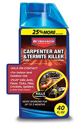 BioAdvanced 700310A Carpenter Ant and Termite Killer Plus, Insect Killer and Pesticide for Outdoors, 40-Ounce, Concentrate