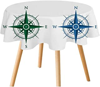 TecBillion Compass Polyester Round Tablecloth,Colorful Different Compasses Set Orientation Icons Earths Magnetic Field Find Your Way for Home Restaurant,31.4