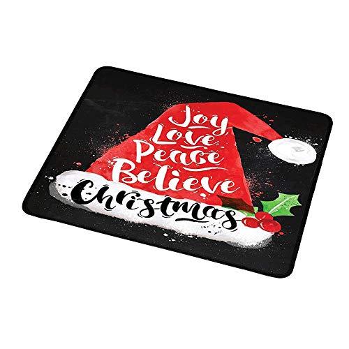 Maus Padwrist Unterstützung Santa, Weihnachtsmütze mit Schriftzug Freude Liebe Frieden Glauben Aquarell Zeichnung Stil Vintage, schwarz rot weiß für Kinder