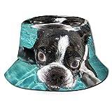 Sombrero de pescador 3D Boston Terrier perro natación plegable cubo sombrero de verano sombrero de sol para hombres y mujeres negro