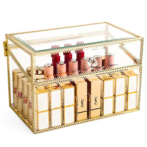 WXI Joyero Impresionante Vanity Lipstick Holder Vidrio sin Polvo Transparente Brillo Labial...
