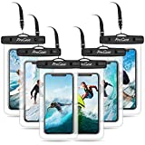 ProCase 6 uds. Funda Estanca Móvil Universal, Bolsa Impermeable IPX8 para iPhone 12/Mini/Pro/iPhone 11 Pro Max/XS/XR/X/8/7, Galaxy Note10+/S20 Ultra/S10e/S9+, Huawei Xiaomi BQ hasta 6,9' -Negro