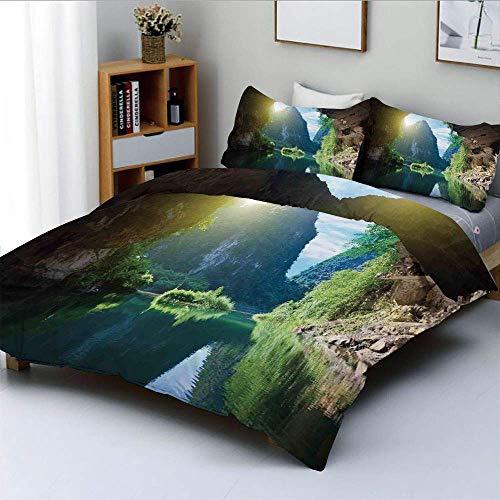 Juego de funda nórdica, vista a la montaña y al cielo desde la gruta Viatnemese Tam Coc Park Myst Nature PhotoDecorative Juego de ropa de cama de 3 piezas con 2 fundas de almohada, multicolor, el mejo