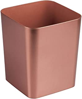 (Rose Gold) - MetroDecor mDesign Bathroom Square Wastebasket for Trash, Recycling - Rose Gold