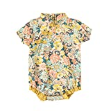 Newborn Baby Girl Romper Floral Chinese Qipao Cheongsam Bodysuit Short Sleeve Jumpsuit Summer Outfits (Yellow Floral Print, 0-3 Months)
