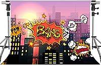 HDスーパーヒーローシティの背景漫画スタイルスーパーヒーローシティ超高層ビルの写真の背景スーパーヒーローパーティーの写真の背景小道具7x5ftLSMT416