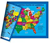 NewSpaceView Children's 2-Sided Map 17.5 x 11.5 inches (One Desk Map: USA/USA Centered World Map)