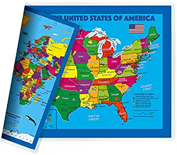 NewSpaceView Children s 2-Sided Map 17.5 x 11.5 inches  One Desk Map  USA/USA Centered World Map