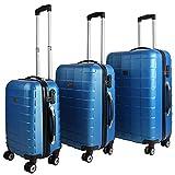 Monzana Juego de 3 Maletas rígidas con Cierre equepaje de Viaje con Ruedas Dobles con rotación de 360° Plástico ABS Azul