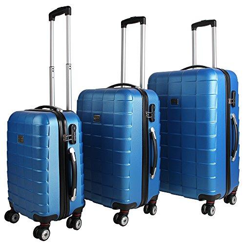 Monzana® 3er Kofferset Hartschalenkoffer Reisekofferset Koffer Trolley gummierte Zwillingsrolle ABS-Schale Alu-Teleskopgriff blau