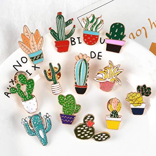 XUEKE Planta en Maceta Pines de Esmalte arcoíris Personalizados Cactus Gato broches Mochila Camisa Solapa Pin Insignia Moda Dibujos Animados joyería niños