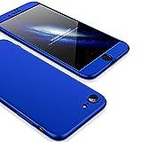JMGoodstore Funda Compatible iPhone 7 Plus,Carcasa iPhone 7 Plus,360 Grados Integral Ambas Caras+Cristal Templado,[ 360°] 3 in 1 Slim Dactilares Protectora Skin Caso Cover Azul
