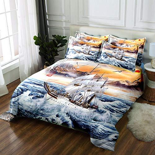 3 tlg. Bettbezug mit bettwäsche 240x220cm Drucken 2 Kissenbezügen 80 x 80 cm Segelboot Hochwertiger Stoff Falten- und Verblassungsbeständig Atmungsaktive Baumwoll