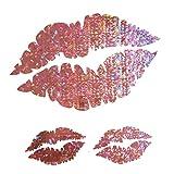 CUSHYSTORE Pink Sweet Lips Sexy Kisses Holographic Hologram Decals Vinyl Sticker for Laptop Fridge Tumbler 3 Packs