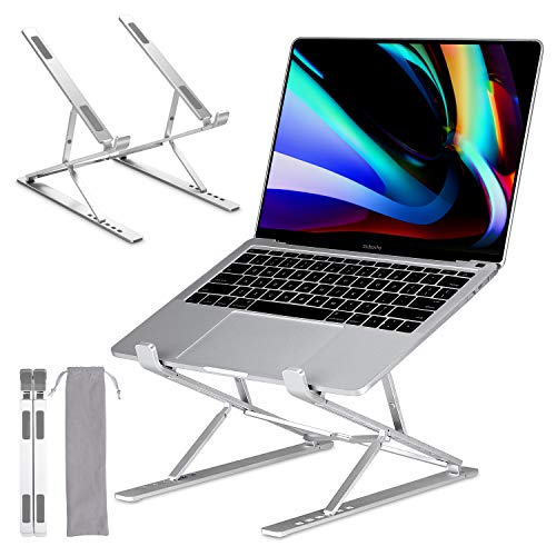 Laptop Stand Foldable, GIM Laptop Holder Ventilated Desktop Cooling Stand 6+9 Levels Adjustable Aluminum Notebook Riser Mount for Mac MacBook Air Pro, Tablet iPad, Lenovo, HP, Dell up to 17.3inch