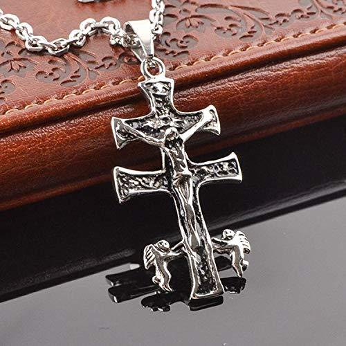 MENGKE Titan Stahl Persönlichkeit Halskette Kreuz Jesus Halskette europäischen und amerikanischen Punk- Rock-Kleidung Anhänger Zubehör Lange Halskette