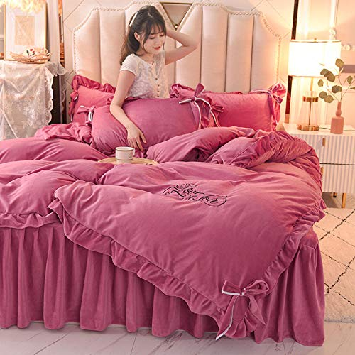 Shinon bedding sets queen with comforter and sheets,Winter warm water thickened flannel single double bed single king duvet cover bed skirt pillowcase-D_2.0m bed (4 pieces)