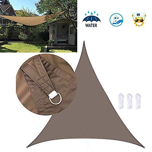 Dalovy Garden Courtyard Sun Shade Sails Polyester Cloth Waterproof Shade Sails Equilateral Triangle Sail Anti-UV Gazebo Awning Canopy for Outdoor Patio Garden(Brown)