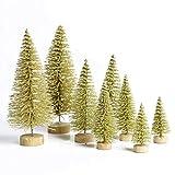 WFZ17 - Juego de 8 mini árboles de Navidad de pino nevado para decoración de escritorio, color dorado