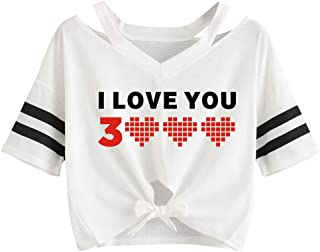 Women's Summer Short Sleeve, Sharemen Women Love You Printed Strap Short Sleeve T-Shirt Top