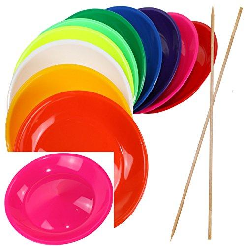 SchwabMarken 1 Jonglierteller NEON-PINK mit Holzstab - Jonglierteller mit Holz- oder Kunststoffstab in vielen verschiedenen Mengen und Farben