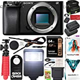 Sony a6100 Mirrorless Camera 4K APS-C Body Only Interchangeable Lens Camera ILCE-6100B with Deco Gear Case + Extra Battery + Flash + Wireless Remote + 64GB Memory Card + Software + Accessories Bundle