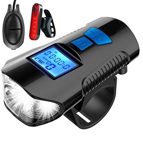 Rhino Valley Luci Bicicletta LED, USB Ricaricabili Luce Bici con Contachilometri, Impermeabili Luce Bici Anteriore e Posteriore, Super Luminoso Luce Bici per Bici Strada e Montagna