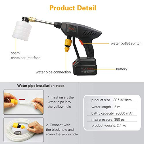 Pressure Washer,Electric Pressure Washer Gun,Portable Cordless High Power Cleaner with 6 in 1 Adjustable Nozzle,21V 450PSI Suitable for Washing Cars,Fences,Pool Siding,Patio Floors
