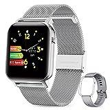 GOKOO Smartwatch Mujer Reloj Inteligente Fitness Deportivo IP68 Impermeable Pulsómetros Entrenamiento Respiratorio Monitor de Sueño Smart Watch Bluetooth Compatible con Android iOS(Plata).