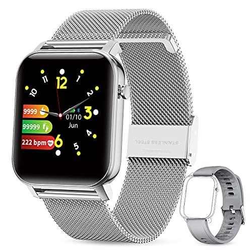 GOKOO Smartwatch Herren Damen Uhr 1.4inch Zoll IPS HD-Touchscreen Fitness Tracker IP68 Wasserdicht SpO2 Stoppuhr schrittzähler Armbanduhr mit Schlafmonitor Pulsuhr Musiksteuerung Uhren für iOS Android