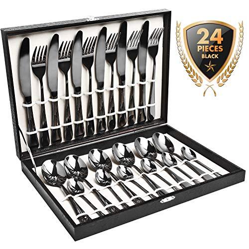 HOBOSchwarzes Besteck 24-teilig Besteckset 6 Personen aus rostfreiem Edelstahl 6*Messer/Gabeln/Löffel/Teelöffel als Geschenk spülmaschinegeeignet(Schwarz Golden)