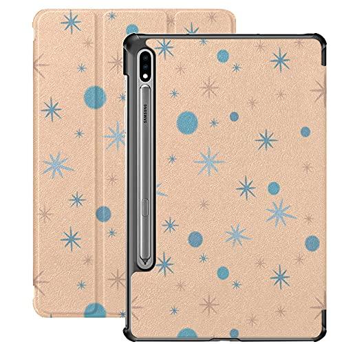 Funda para Galaxy Tab S7 Funda Delgada y Liviana con Soporte Funda para Samsung Funda para Galaxy Tab S7 Tablet 11 Pulgadas Sm-t870 Sm-t875 Sm-t878 2020 Release, Beige Moteado con Estrellas y círculo