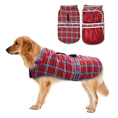 Eastlion Ropa a Cuadros Abrigo de Perro para Invierno Chaleco cálido para...