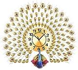 AMYZ Decoración del hogar Reloj de Pared de Pavo Real Reloj de Cristal para Sala de Estar Decoración de Arte Creativo Reloj de Pared Dormitorio Reloj de Pared silencioso,Oro,70 * 65 CM