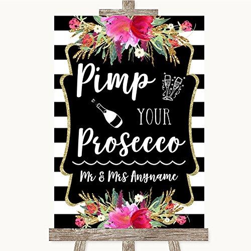 Zwart & Wit Strepen Roze Collectie Zwart & Wit Strepen Roze Pimp Uw Prosecco Bruiloft Teken Framed Oak Small