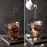 Aspect 6PC Premium Latte Glasses Mugs 240ml & 6 Spoons Set Ideal for Espresso, Cappuccino, Coffee, Tea, Hot Chocolate, Hot Drinks, Tassimo & Dolce Gusto Coffee Machines 8.8oz
