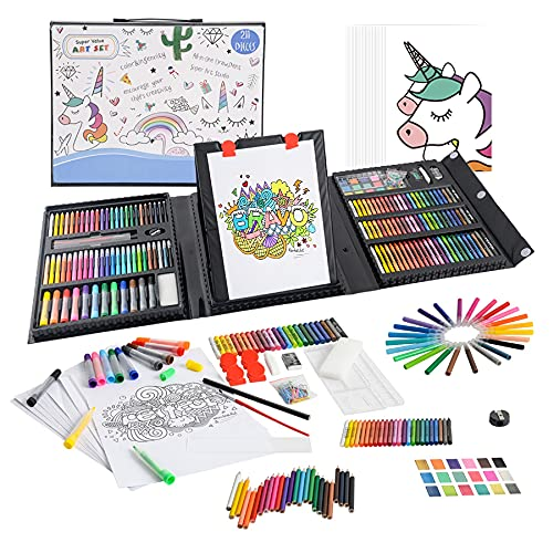 KIDDYCOLOR 211pcs Kids Art Supplies, Portable Painting & Drawing Art Kit for Kids With Oil Pastels, Crayons, Colored Pencils, Markers, Double Sided Trifold Easel Art Set for Girls Boys Teens 3-12