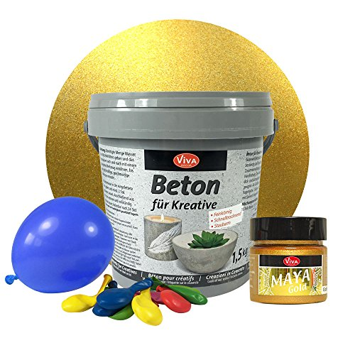 LM-Kreativ 1,5 kg Beton Windlichter Set (Gold) Metallic Beton-Set für kreative Windlichter, Beton für Kreative, Windlichter, Schalen, Bastelbeton, Gießbeton, Maya Gold Viva Decor