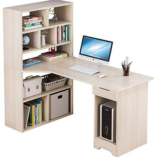 AJH - Mesa plegable para ordenador de sobremesa o oficina, 5 capas, revista de consumo, ordenador portátil, escritorio, cajón lateral del estante cuadrado, Beige Claro, Tamaño libre