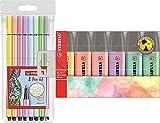 Fasermaler pen 68 pastel Etui 8ST/8 Farben mit STABILO 70/6-2 Textmarker Pastellfarben