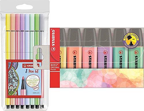 Textmarker - STABILO BOSS ORIGINAL Pastel - 6er Pack & Premium-Filzstift - STABILO Pen 68 - 8er Pack - Pastellfarben